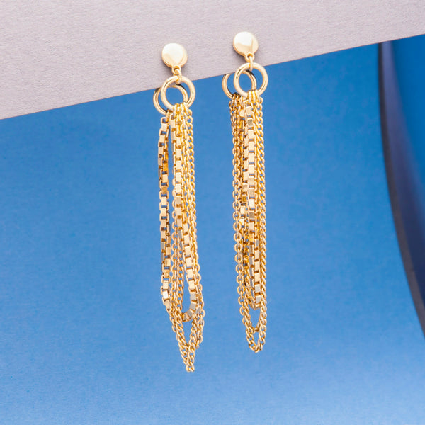 GOLD TRIPLE CHAIN LOOP EARRINGS