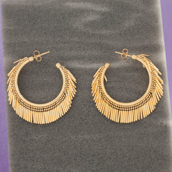 SMALL GOLD TASSEL HOOP EARRINGS
