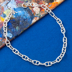 LARGE SILVER ANCHOR CHAIN NECKLACE