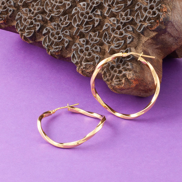 GOLD TWISTED THREAD HOOP EARRINGS