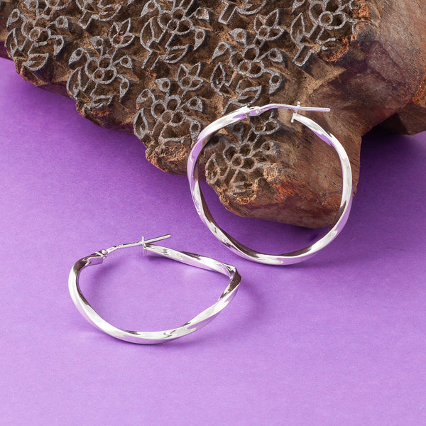 SILVER TWISTED THREAD HOOP EARRINGS