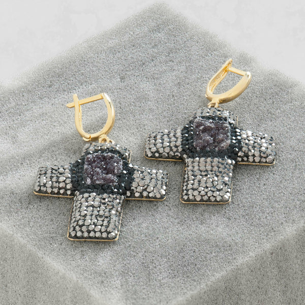 GEMSTONE AND CRYSTAL CROSS EARRINGS