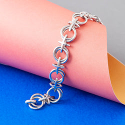SILVER NOUGHTS AND CROSSES CHAIN BRACELET