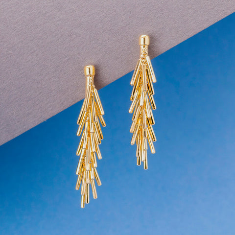 GOLD TASSEL BAR EARRINGS