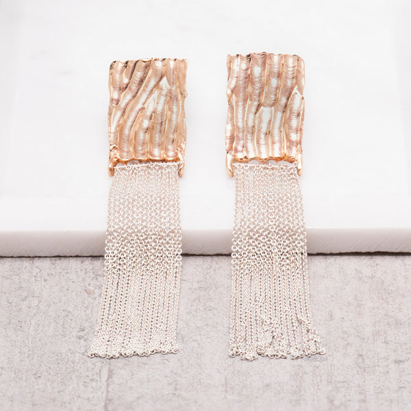 BRONZE FLAME TASSEL EARRINGS