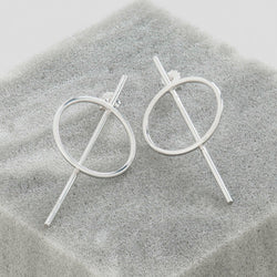 SILVER CIRCLE AND BAR EARRINGS