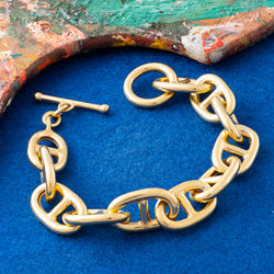 X-LARGE GOLD ANCHOR CHAIN T-BAR BRACELET