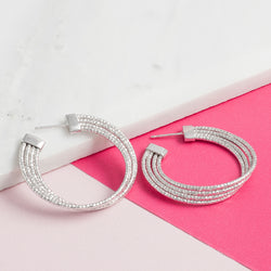 SILVER ART DECO TWIST HOOPS