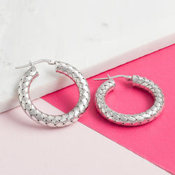 SILVER THICK WOVEN HOOPS