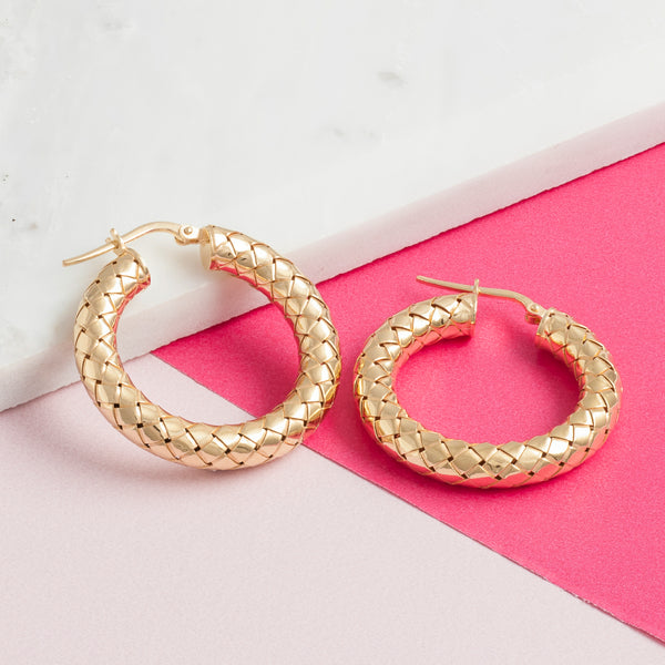 GOLD THICK WOVEN HOOPS
