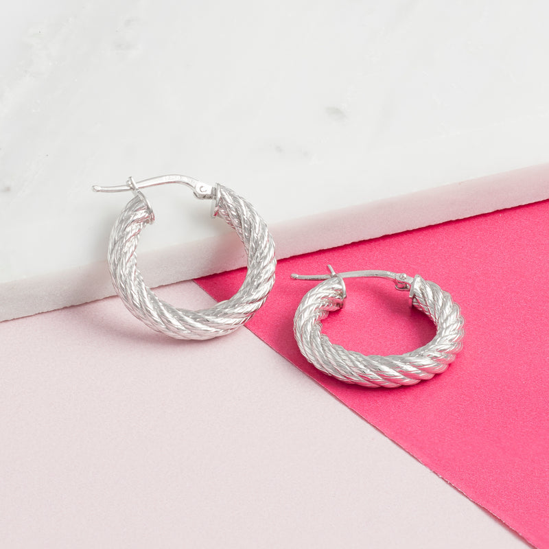 SMALL SILVER TWIST HOOPS