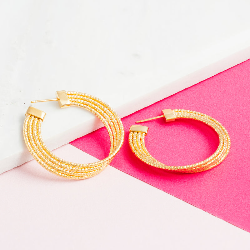 GOLD ART DECO TWIST HOOPS