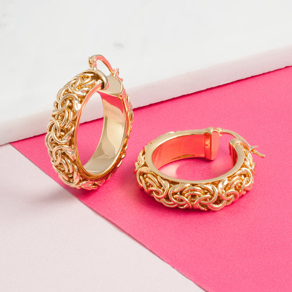 GOLD SOLID CHAIN HOOPS