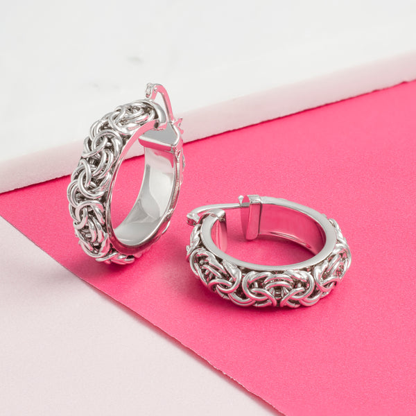 SILVER SOLID CHAIN HOOPS