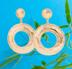 BRONZE HAMMERED DISC EARRINGS