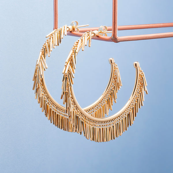 LARGE GOLD TASSEL HOOP EARRINGS