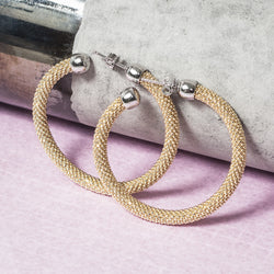 MEDIUM DIAMOND CUT GOLD HOOP EARRINGS