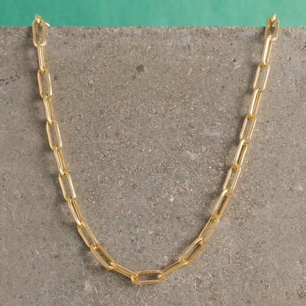 GOLD LONG LINK CHAIN NECKLACE