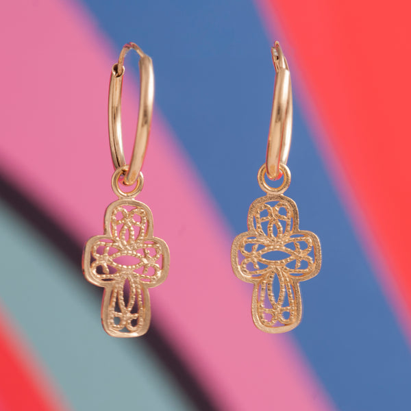 CROSS LACE CHARM EARRINGS