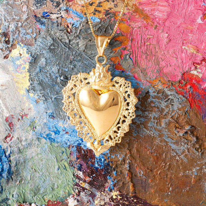 LARGE GOLD SACRED HEART PENDANT