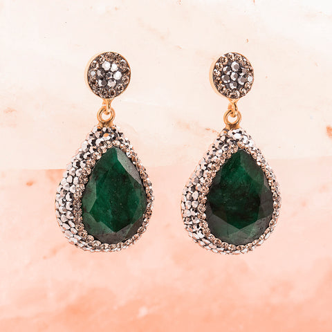EMERALD AND CRYSTAL DROP EARRINGS