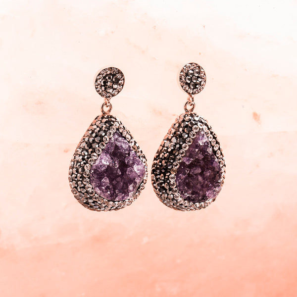 AMETHYST AND CRYSTAL DROP EARRINGS