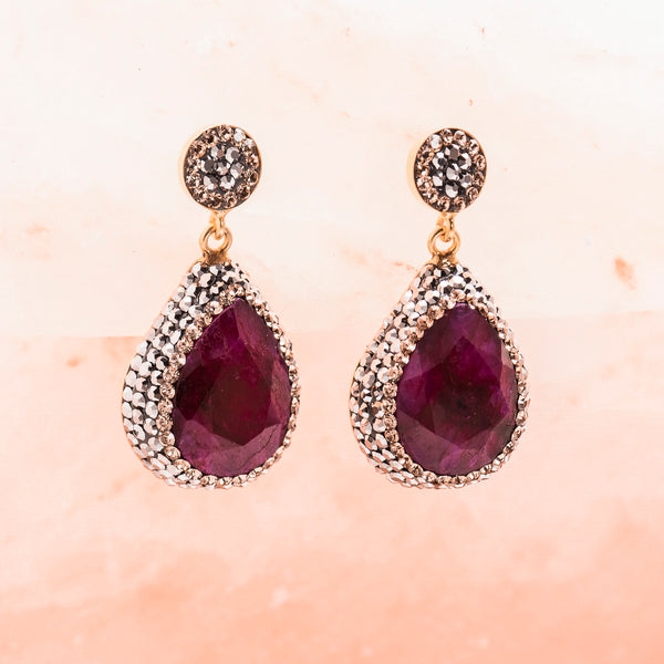 RUBY AND CRYSTAL DROP EARRINGS