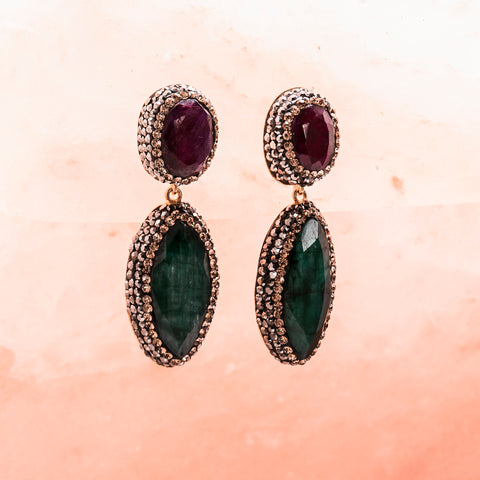 RUBY, EMERALD AND CRYSTAL DOUBLE DROP EARRINGS