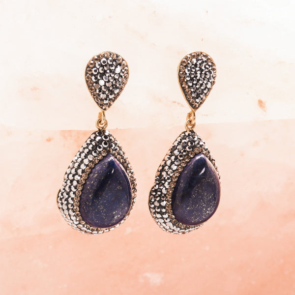 LAPIS LAZULI AND CRYSTAL DROP EARRINGS