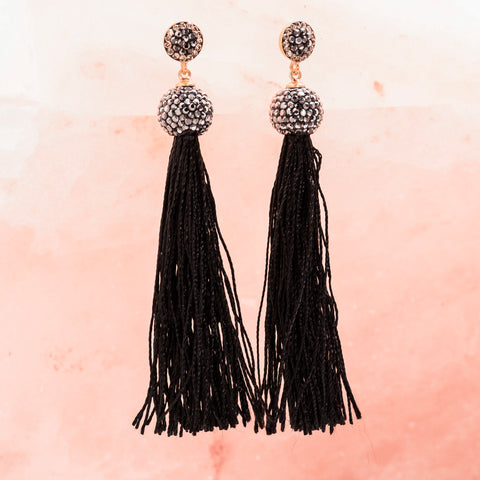 BLACK TASSEL AND CRYSTAL EARRINGS