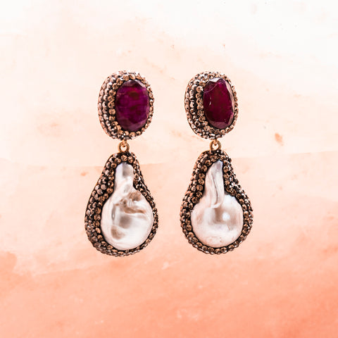 RUBY AND PEARL CHANDELIER EARRINGS