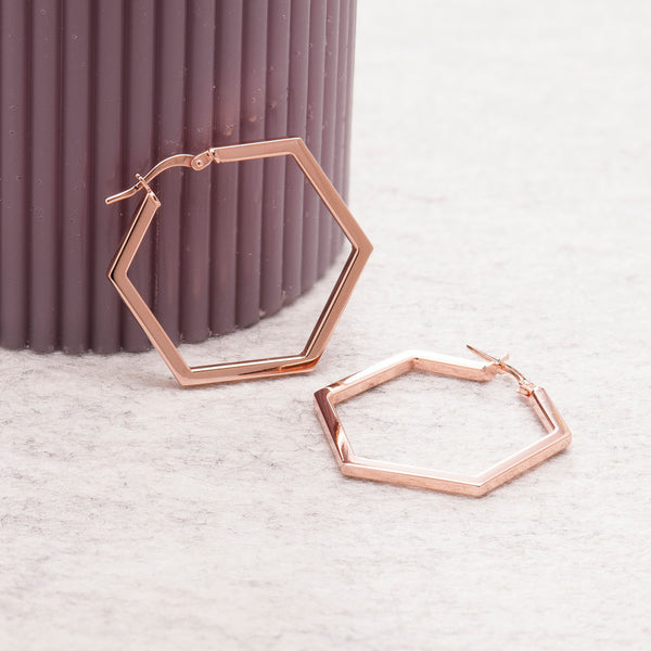 ROSE GOLD HEXAGON HOOP EARRINGS