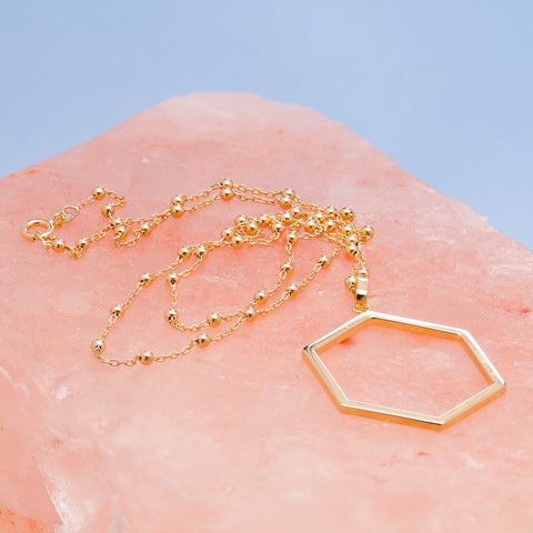GOLD HEXAGON PENDANT