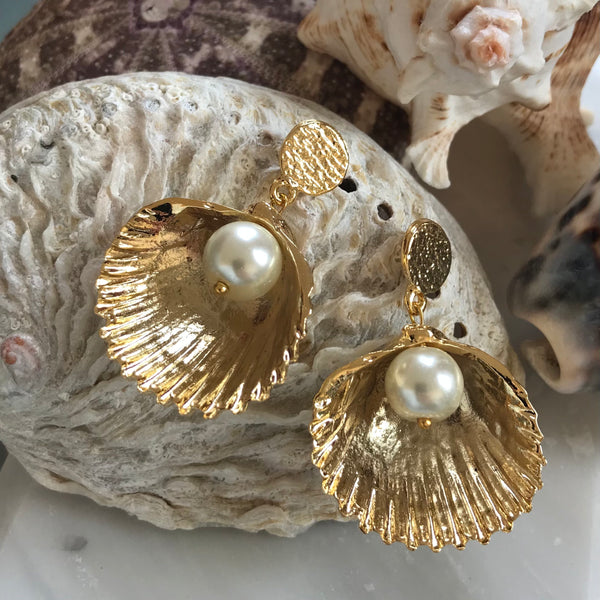 GOLD SHELL AND PEARL EARRINGS