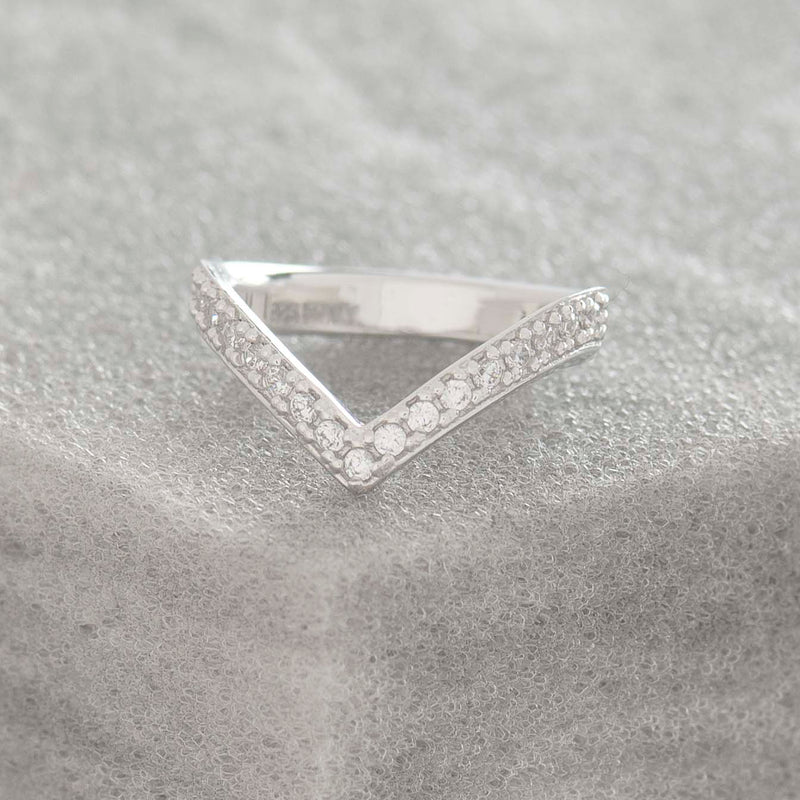 SILVER PAVE 'V' RING