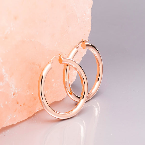 THICK ROSE GOLD HOOP EARRINGS