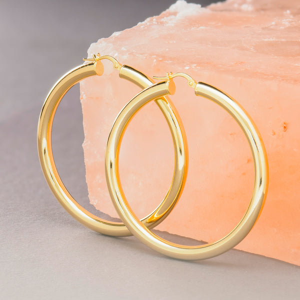 THICK GOLD MEGA HOOP EARRINGS