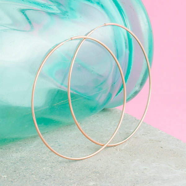 LARGE ROSE GOLD THREAD HOOPS