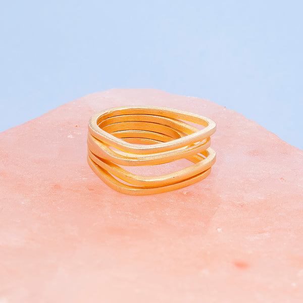 GOLD PARALLEL LINES RING