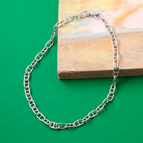 SMALL SILVER ANCHOR CHAIN NECKLACE