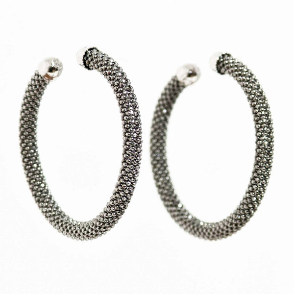 MEDIUM DIAMOND CUT BLACK HOOP EARRINGS