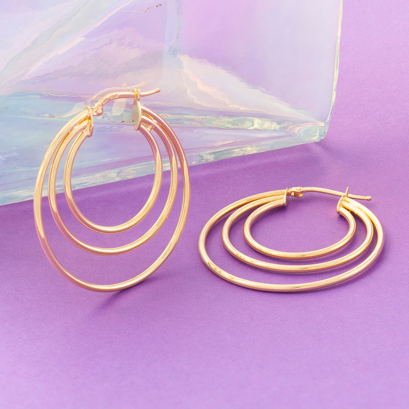 SILVER TRIPLE RING HOOP EARRINGS