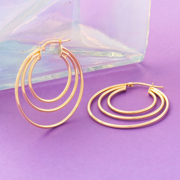 GOLD TRIPLE RING HOOP EARRINGS