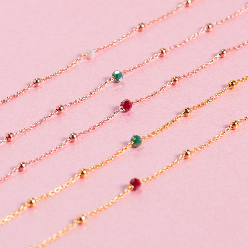 LONG ROSE GOLD BEADED NECKLACE WITH RUBY QUARTZ BEADS