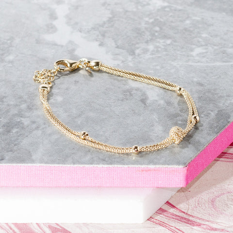 GOLD DOUBLE KNOT AND BALL BRACELET