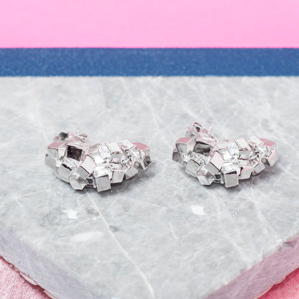 SILVER SQUARE CLUSTER EARRINGS
