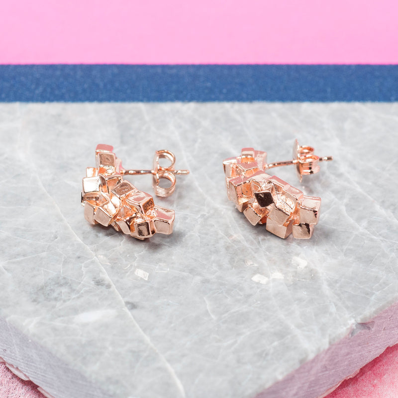 ROSE GOLD SQUARE CLUSTER EARRINGS