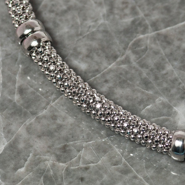DIAMOND CUT SILVER BRACELET WITH SILVER BANDS