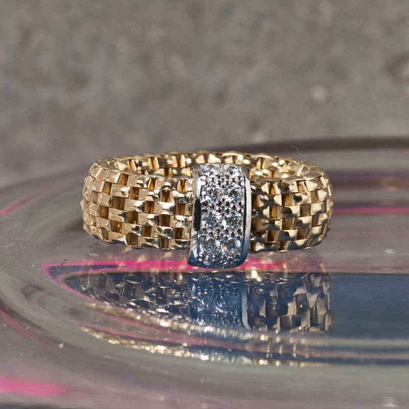 GOLD FLEXI RING WITH ZIRCONS