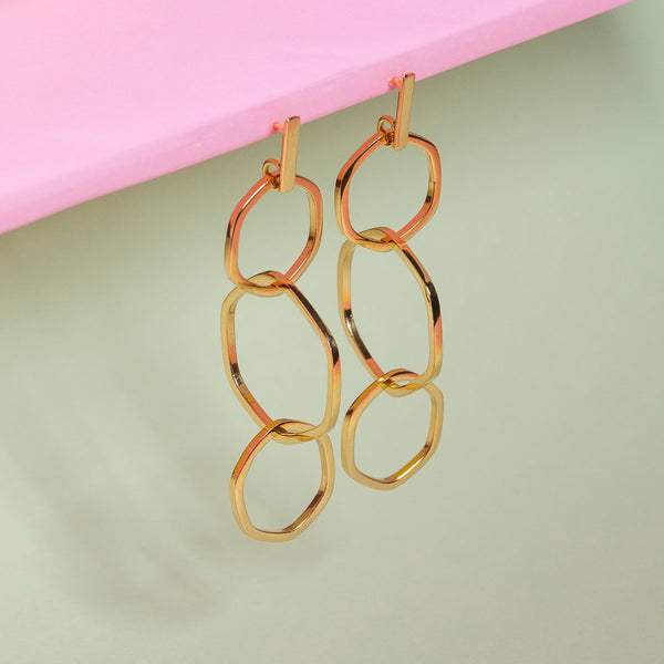 GOLD TRIPLE HEXAGON CHAIN EARRINGS